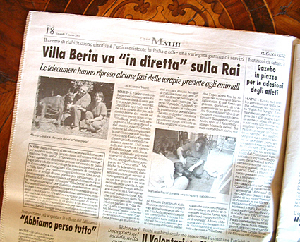 """Articolo """"Villa Beria va in diretta sulla RAI"""""""